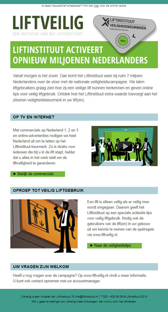 E-mail start Liftveilig campagne.